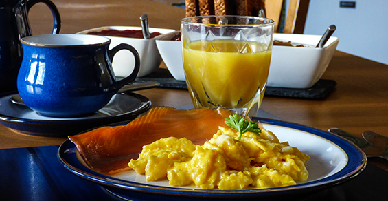 Seadrift, Self-catering, Dornie, scrambled eggs and salmon